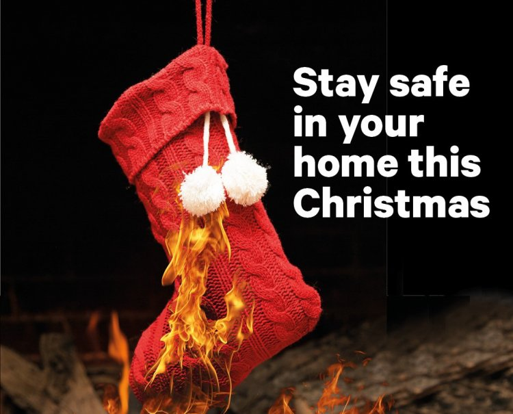 christmas stocking and decorations with fire